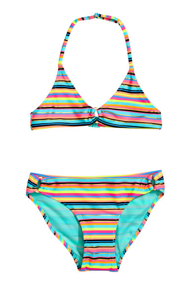 Maillot triangle deux pièces - Turquoise/rayé -  | H&M FR