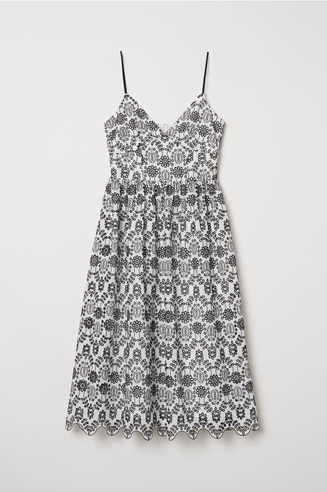 4f573ee43 Dress with Eyelet Embroidery - White/black - Ladies | H&M ...