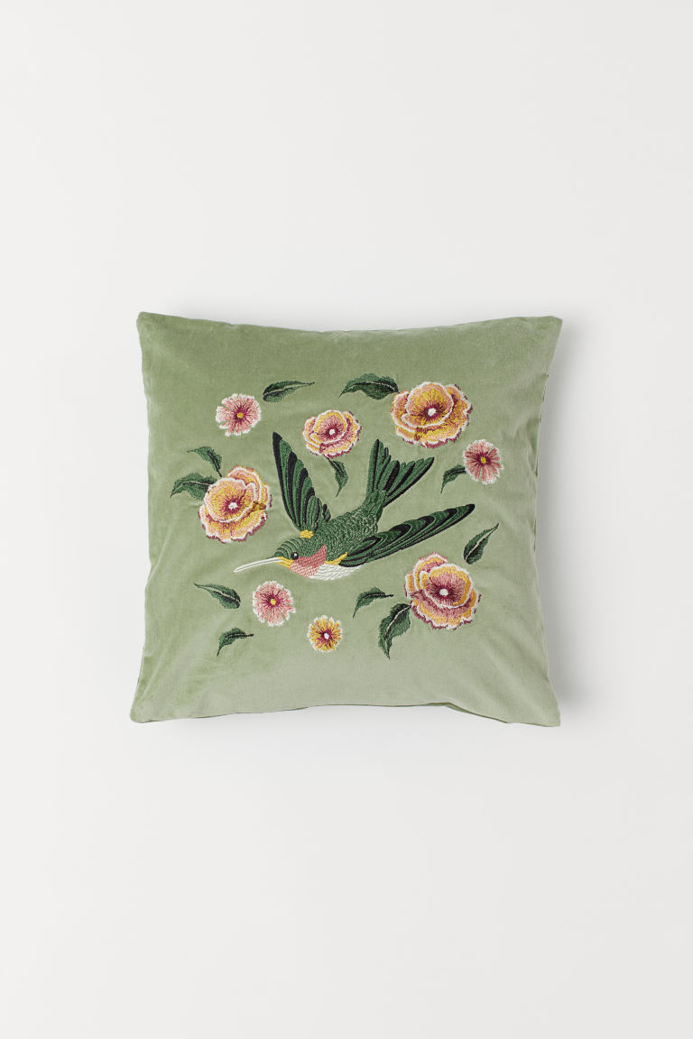 Velvet cushion cover - Green/Hummingbird - Home All | H&M CN