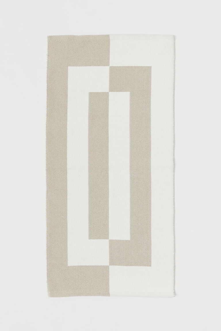 Jacquard-patterned cotton rug - Beige/White - Home All | H&M CN