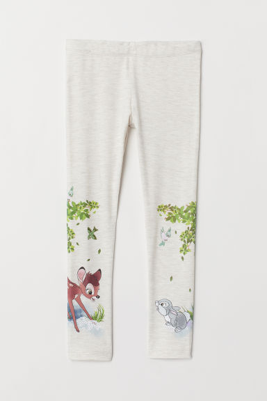 Leggings with a print motif - Beige marl/Bambi - Kids | H&M