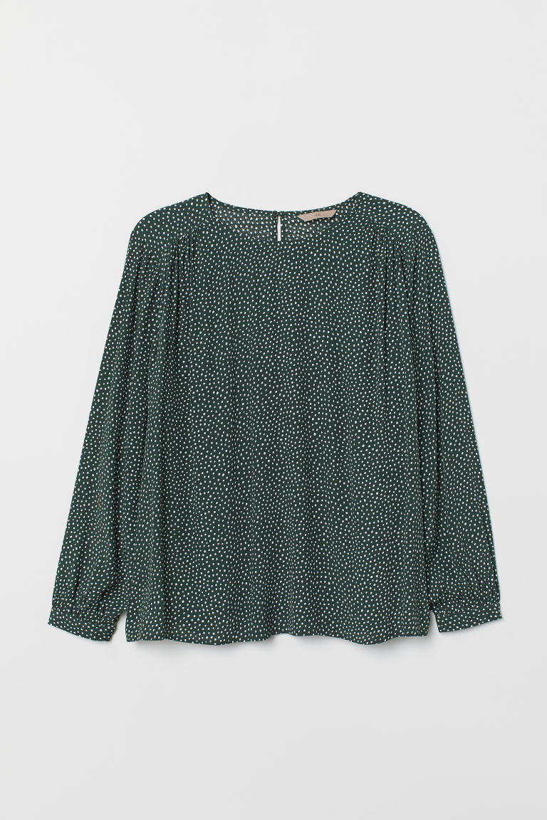 H&M+ Camicetta increspata - Verde scuro/bianco pois - DONNA | H&M IT