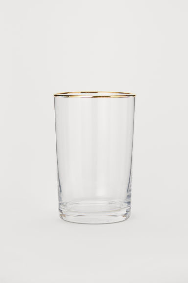 Tumbler with gold-coloured rim - Clear glass/Gold-coloured - Home All | H&M CN