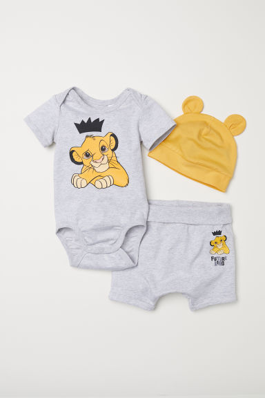 3-piece jersey set - Grey marl/The Lion King - Kids | H&M