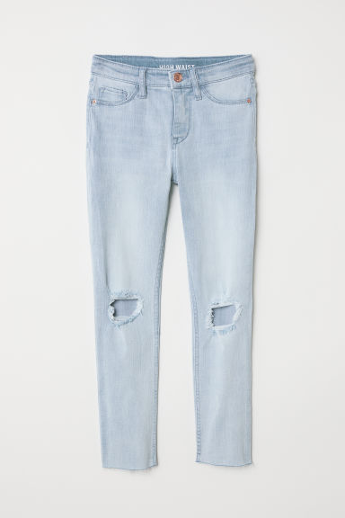 Skinny Fit High Trashed Jeans - Bleu denim clair - ENFANT | H&M FR