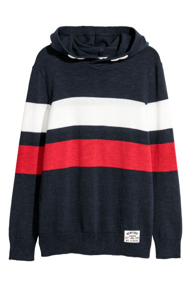 Knitted hooded jumper - Dark blue/Block-coloured -  | H&M