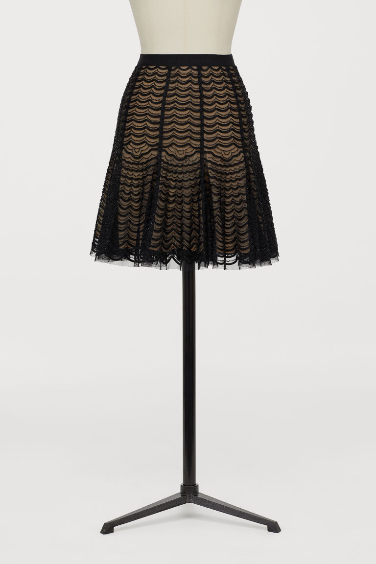 Bead-embroidered skirt - Black - Ladies | H&M