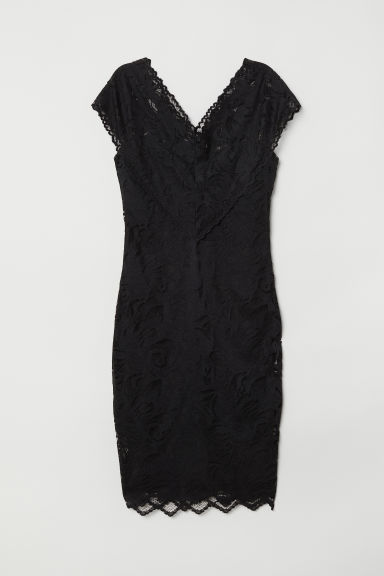 Lace V-neck dress - Black - Ladies | H&M