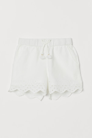 Shorts with Eyelet Embroidery