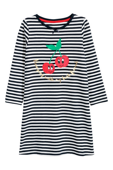 Jersey nightdress - Dark blue/Striped - Kids | H&M CN