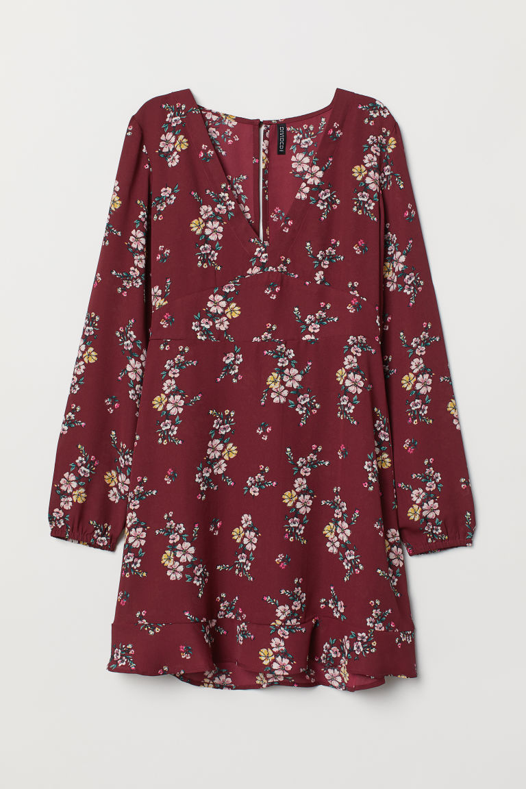 V-neck dress - Burgundy/Floral - Ladies | H&M