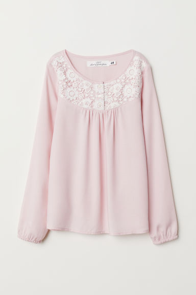 Blouse with a lace yoke - Light pink - Kids | H&M