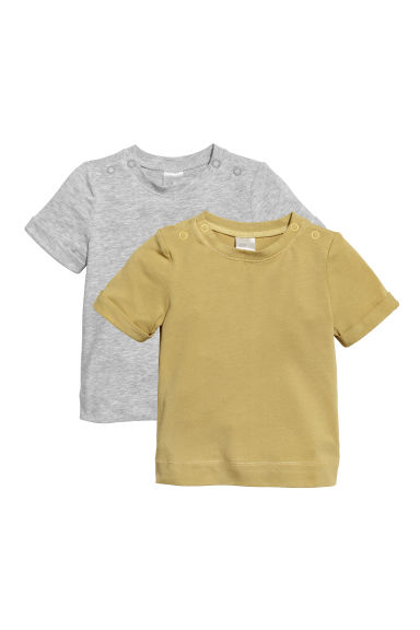 2-pack pima cotton T-shirts - Olive green/Light grey - Kids | H&M CN