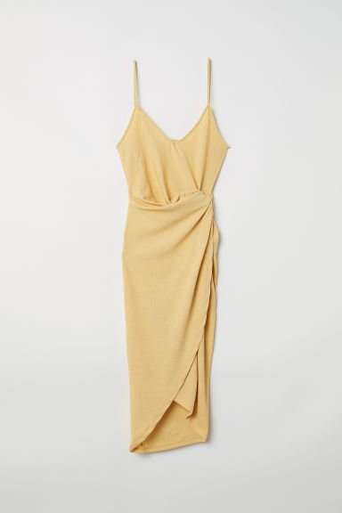 Draped wrap dress - Light yellow - Ladies | H&M CN