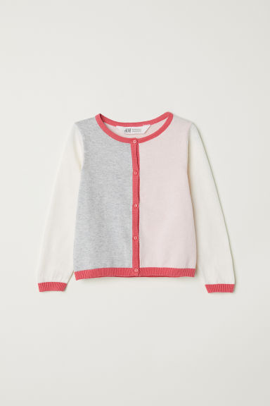 Block-coloured cardigan - Light pink/Block-coloured - Kids | H&M