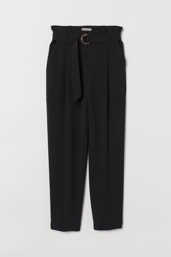 Spodnie z talią paper bag - Czarny - ONA   H&M PL 4