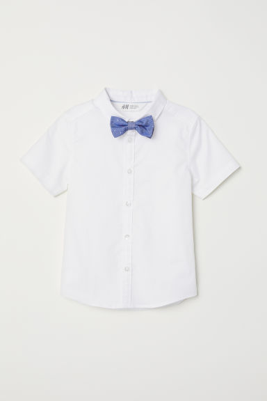 Shirt with a tie/bow tie - White/Bow tie - Kids | H&M CN