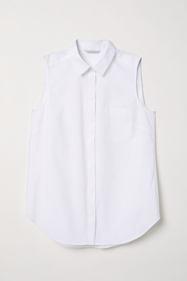 Sleeveless blouse - White -  | H&M CN
