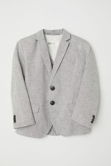 Textured-weave jacket - Light grey - Kids | H&M