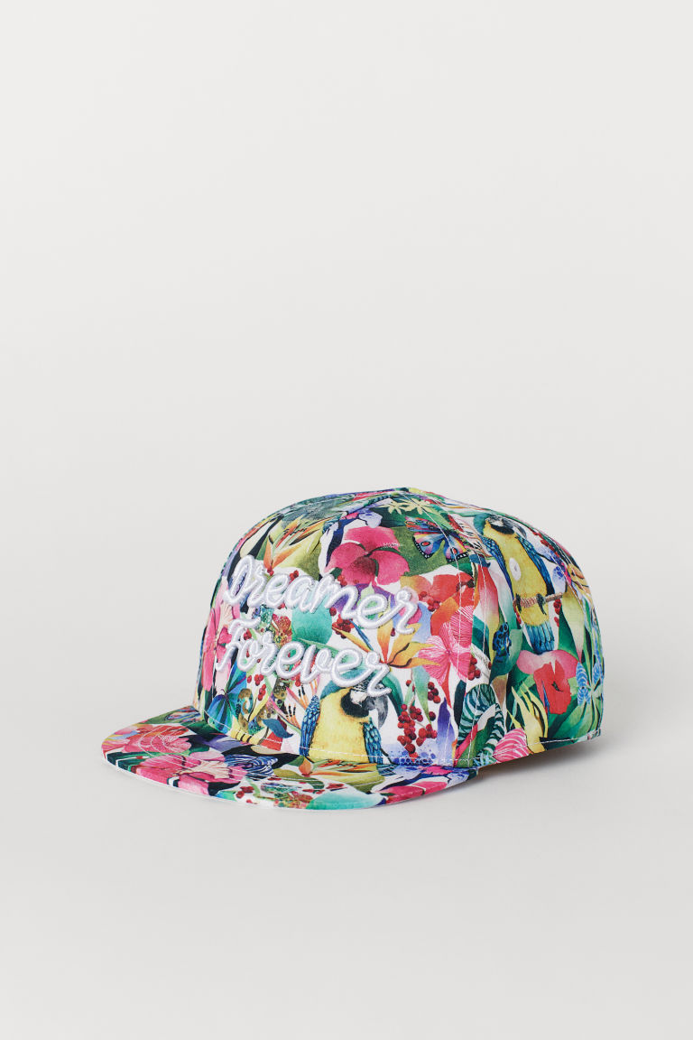 Cap with Embroidery - White/rainforest - Kids | H&M US