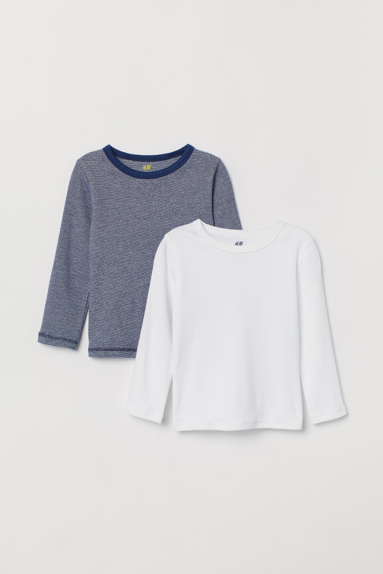2-pack jersey tops - Dark blue/Striped - Kids | H&M CN