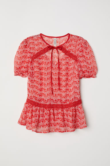 Puff-sleeved blouse - Red/Floral -  | H&M