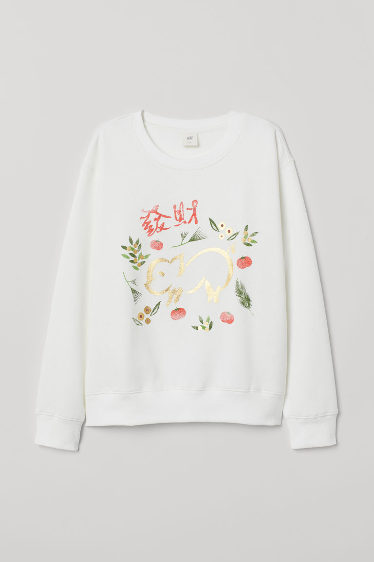 Printed sweatshirt - White - Ladies | H&M CN