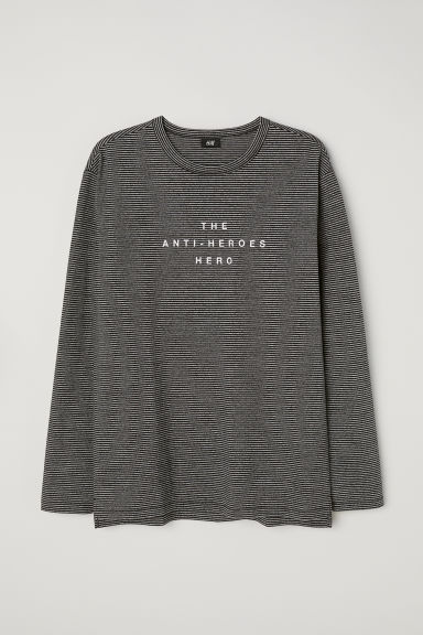 Long-sleeved T-shirt - Grey marl/Black striped - Men | H&M