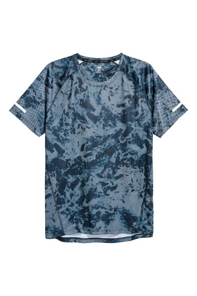 Short-sleeved running top - Dark blue/Patterned - Men | H&M