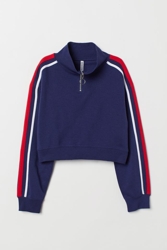 70de2a865cdfe Stand-up Collar Sweatshirt - Dark blue/red - | H&M CA