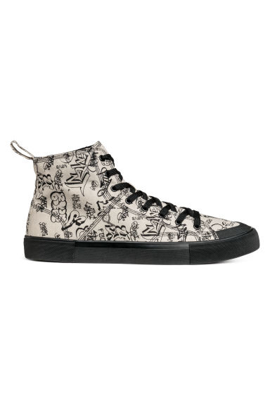 Cotton canvas hi-tops - Natural white/Graffiti -  | H&M