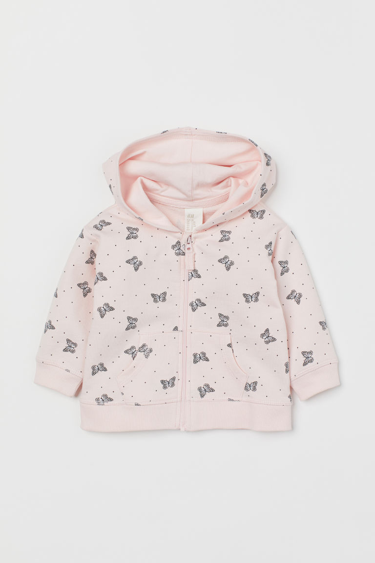 Hooded Jacket - Light pink/butterflies - Kids | H&M US