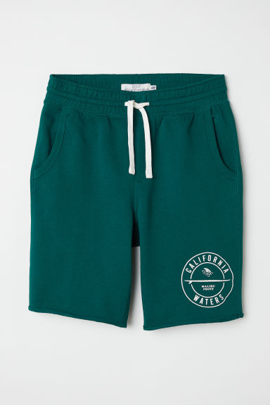 Knee-length sweatshirt shorts - Dark green - Men | H&M CN