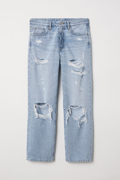Original Straight High Jeans - Lys denimblå/Trashed - DAME | H&M DK