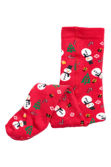 Terry tights - Red/Snowman - Kids | H&M CN
