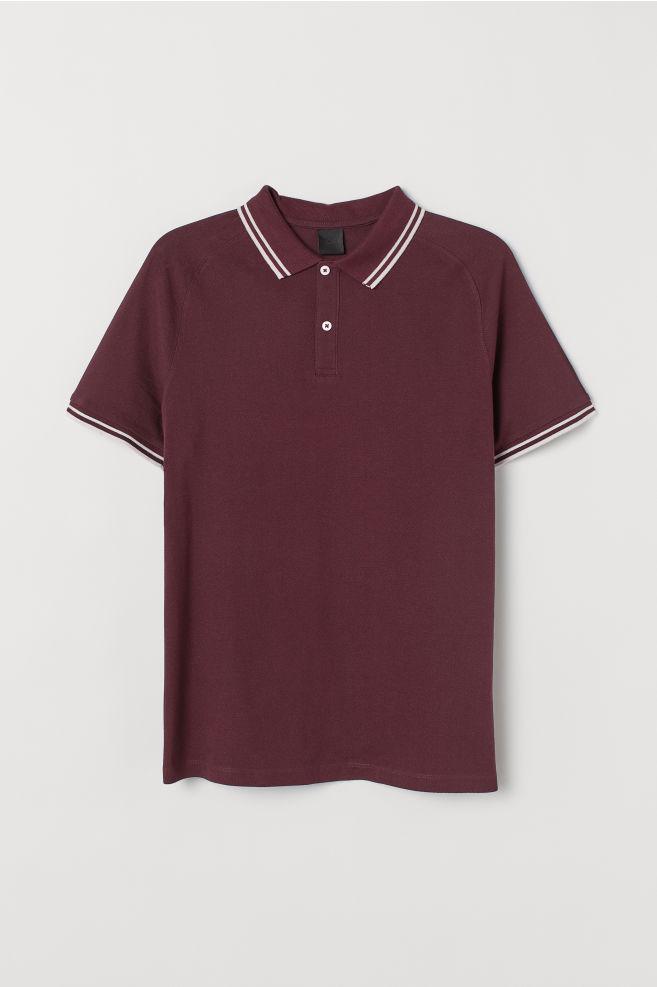 6faafd70f7f41 ... Muscle Fit Piqué Polo Shirt - Burgundy -
