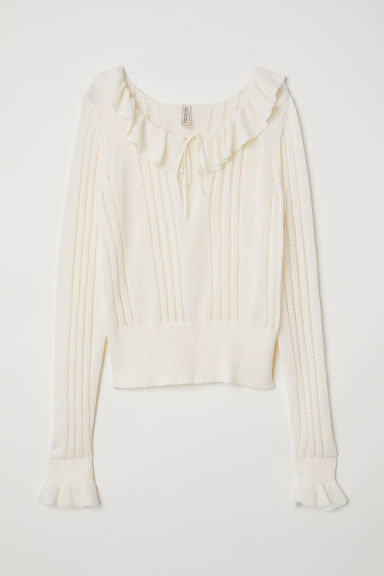 Frilled knitted jumper - Natural white - Ladies | H&M CN