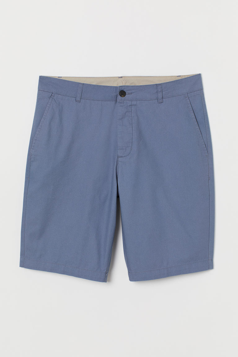 Knee-length cotton shorts - Pigeon blue - Men | H&M
