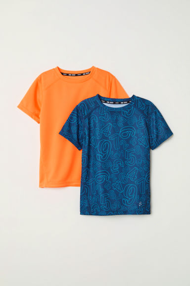 2-pack sports tops - Blue/Neon orange - Kids | H&M CN