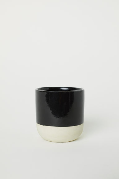 Small stoneware plant pot - Black - Home All | H&M CN