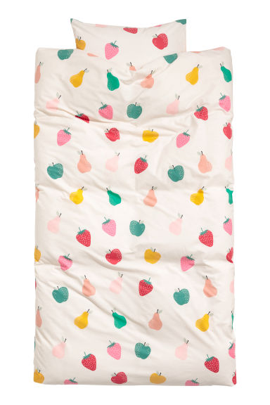 Patterned duvet cover set - Natural white/Fruit -  | H&M CN