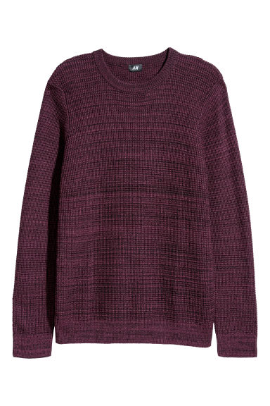 Textured-knit jumper - Burgundy marl - Men | H&M CN