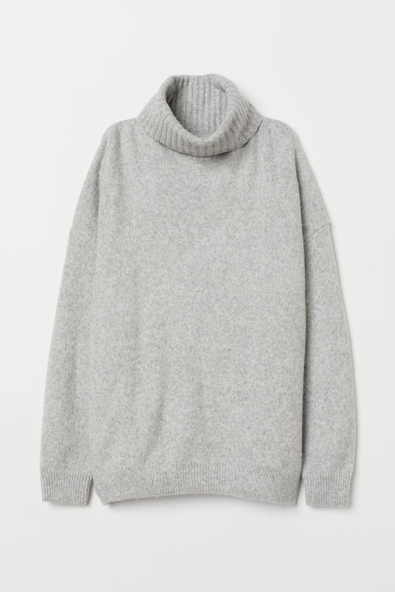 Knitted cowl-neck jumper - Grey marl - Ladies | H&M