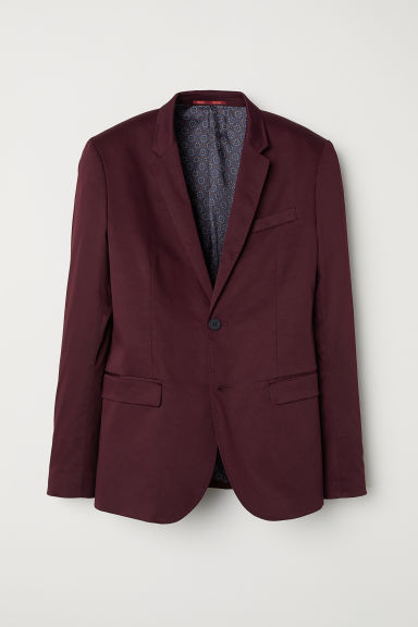 Satin jacket Skinny fit - Burgundy - Men | H&M