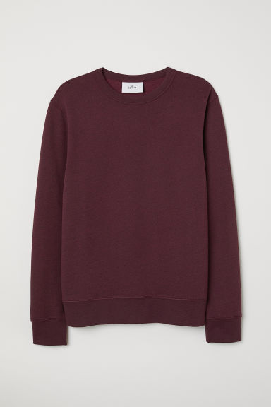 Silk-blend sweatshirt - Burgundy marl - Men | H&M