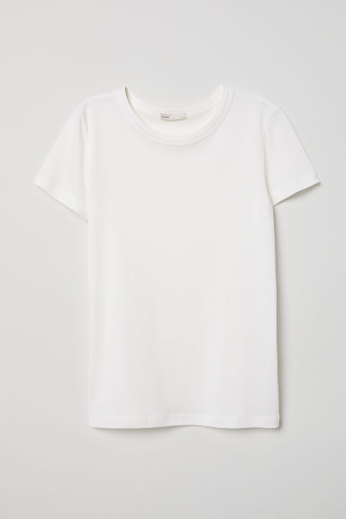 Silk-blend jersey top - White -  | H&M CN