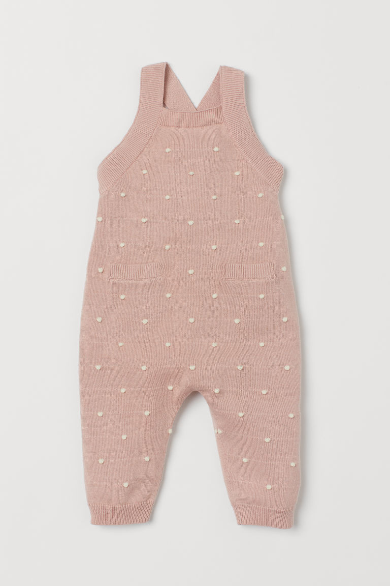 Knitted dungarees - Light pink/Spotted -  | H&M