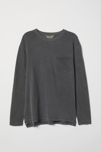 Long-sleeved jersey top - Dark grey - Kids | H&M CN