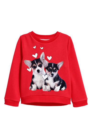Sweatshirt with a print motif - Red/Dogs - Kids | H&M CN