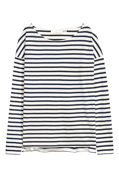 Long-sleeved top - White/Blue striped -  | H&M